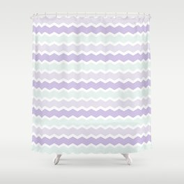 Lavanda and Mint Chevron Shower Curtain