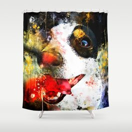 jack russell terrier dog crazy eyes ws Shower Curtain