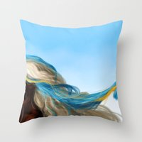 wesley bird Throw Pillows featuring BIRD by John Aslarona