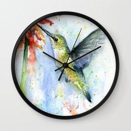 Hummingbird Red Flower Watercolor Bird Wall Clock