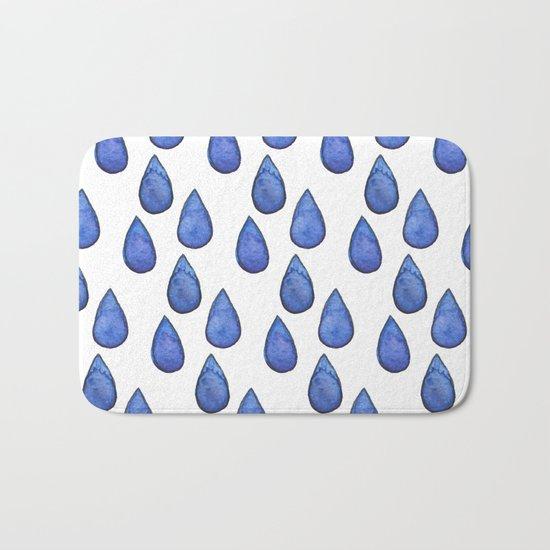 Watercolor raindrops Bath Mat