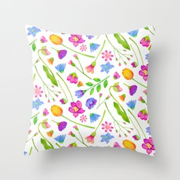 Spring Floral Watercolor Pattern Throw Pillow