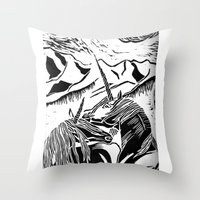 unicorns Throw Pillows featuring Unicorns by Lily Livingston
