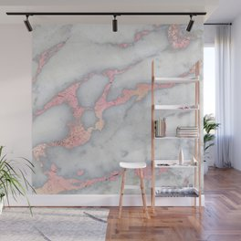 Rosegold Pink on Gray Marble Metallic Foil Style Wall Mural