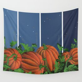 Pumpkin Patch at Night on Blues Wall Tapestry