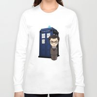 dr who Long Sleeve T-shirts featuring Kokeshi Dr. Who by Pendientera