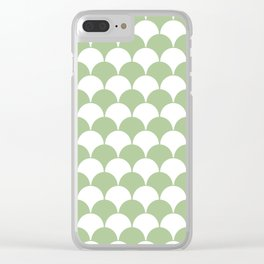 Fan Pattern 321 Sage Green Clear iPhone Case