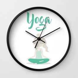 Young Yoga Lady sitting in Lotus Position - International Yoga Day Wall Clock
