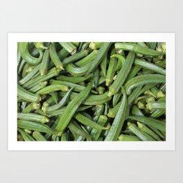 Green Okra Vegetables Illustration Art Print