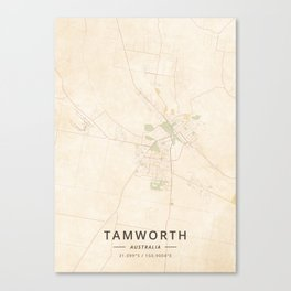Tamworth, Australia - Vintage Map Canvas Print