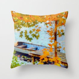 Boat Under Falling Leaves Throw Pillow