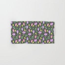 Purple Crocus Spring Floral Pattern Hand & Bath Towel