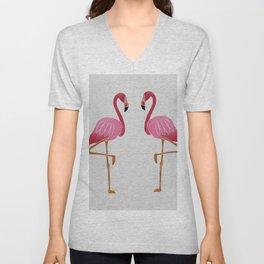 Two Pink Flamingos Unisex V-Neck