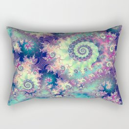 Violet Teal Sea Shells, Abstract Underwater Forest  Rectangular Pillow