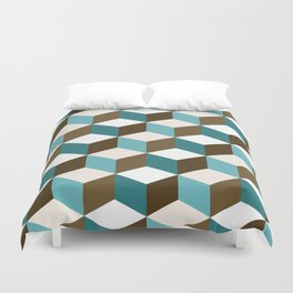 Cubes Pattern Teals Browns Cream White Duvet Cover
