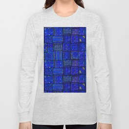 -A2- Lovely Calm Blue Traditional Moroccan Pattern Artwork. Long Sleeve T-shirt