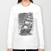 pirate ship Long Sleeve T-shirts featuring Caleuche Ghost Pirate Ship by Roberto Jaras Lira