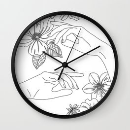 Hands and flowers line drawing illustration - Isabel Wall Clock