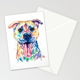 Bullmastiff Watercolor Colorful Pet Portrait Painting, Dog Painting, Mastiff Stationery Cards
