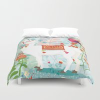 llama Duvet Covers featuring Llama by The Wildest Little Things