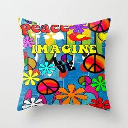Retro Peace Symbols and Retro Flowers Throw Pillow