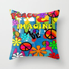 Retro Peace Symbols and Retro Flowers Throw Pillow