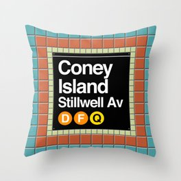 subway coney island sign Throw Pillow