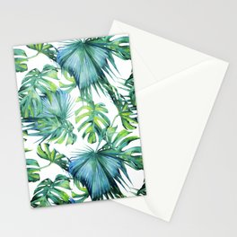 Blue Jungle Leaves, Monstera, Palm #society6 Stationery Cards