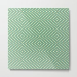 Mint Green Diamond Pattern Metal Print