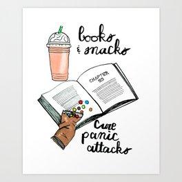 Books & snacks cure panic attacks Art Print