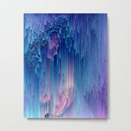 Fairy Glitches - Abstract Pixel Art Metal Print