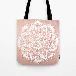 Flower Mandala on Rose Gold Tote Bag
