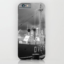 Overfalls Lightship Lewes Black and White Coastal Landscape Photograph iPhone Case