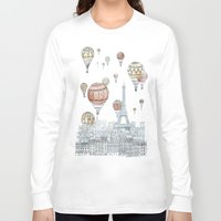 paris Long Sleeve T-shirts featuring Voyages Over Paris by David Fleck