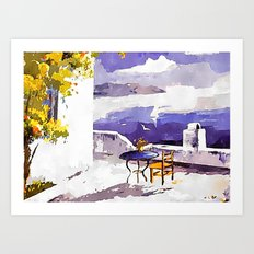 Greek Island Terrace Art Print