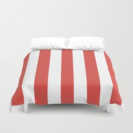 Strawberry Daiquiri pink - solid color - white vertical lines pattern Duvet Cover