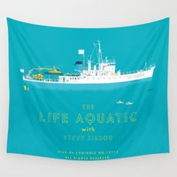 wes anderson Wall Tapestries featuring The Life Aquatic with Steve Zissou by steeeeee
