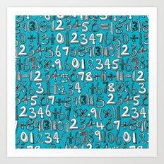 math doodle blue Art Print