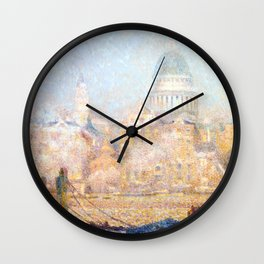 Henri le Sidaner - St. Paul's from the River- Morning Sun in Winter Wall Clock