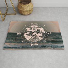 Lighthouse Compass Ocean Sunset Rose Gold Rug