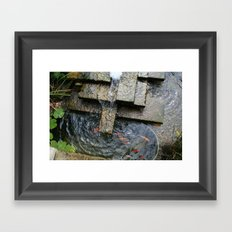 Fountain and Koi Framed Art Print