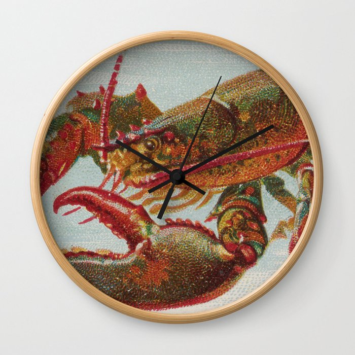 Vintage Illustration of a Lobster (1889) Wall Clock