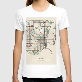 Colorful City Maps: Miami, Florida T-shirt