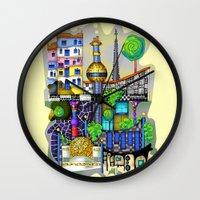 vienna Wall Clocks featuring Vienna  by Aleksandra Jevtovic