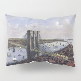 NEW YORK  East River BRIDGE city old map Father Day art print poster Pillow Sham