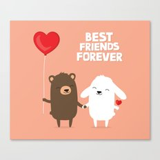 Cute cartoon bear and bunny rabbit holding hands Canvas Print