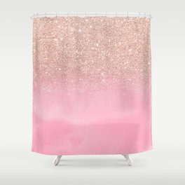 Modern rose gold glitter ombre hand painted pink watercolor Shower Curtain