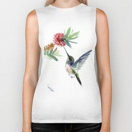 Hummingbird. elegant bird and flowers, minimalist bird art beautiful bird painting Biker Tank