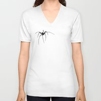 spider V-neck T-shirts featuring Spider by Laura