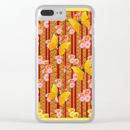 Yellow Art Deco Butterflies Pink Floral Pattern Art Clear iPhone Case